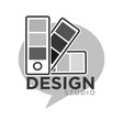 design studio colorless logo label isolated on vector image