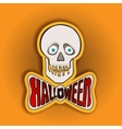 Happy Halloween sticker with skull on a yellow vector image