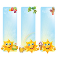Funny sun with cool desserts and drinks vertical vector image