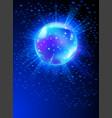 sparkling disco ball on blue light burst vector image