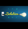 Solution concept with creative light bulb idea vector image vector image