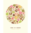 Colorful cookies circle decor pattern background vector image