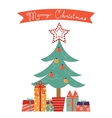 Christmas card with Christmas tree and gifts vector image vector image