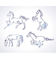 Set of sketches of horses vector image vector image