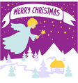 Christmas background with angel vector image