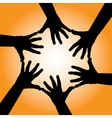 Silhouetted hands vector image