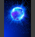 sparkling disco ball on blue light burst vector image