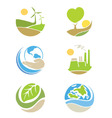 The logos on the theme ecology vector image