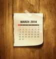 Calendar March 2014 vector image vector image