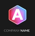 Letter a logo symbol in colorful hexagonal vector image