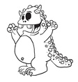 simple black and white monster cartoon vector image