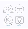 Love heart brilliant and gift box icons vector image
