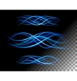 Abstract lights waves lines on transparent vector image