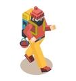 Backpacker Traveler Polygonal Character Walk vector image