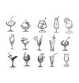 cocktails glasses alcohol drinks bar icons vector image