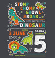 invitation dinosaurs party birthday vector image