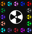 radioactive icon sign Lots of colorful symbols for vector image