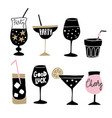 set of hand drawn alcoholic drinks cocktails with vector image