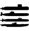 submarine silhouettes vector image