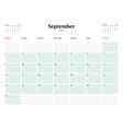Calendar planner template for 2018 year september vector image