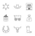 wild west icon set outline style vector image