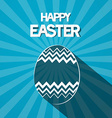 Happy Easter Paper Egg on Retro Blue Background vector image