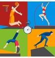Athletes skater basketball pole vaulting dancer vector image