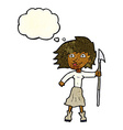 cartoon woman with spear with thought bubble vector image