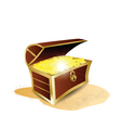 treasure full of gold vector image vector image