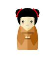 cute brown kimono girl character graphic vector image