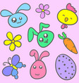 doodle of bunny flower and butterfly vector image