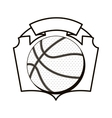 gray scale emblem with basketball ball vector image