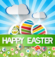 Happy Easter Card with Paper Cut Eggs - Clou vector image