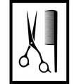 scissors and comb on black frame vector image