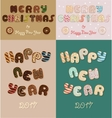 Merry Christmas New Year 2017 Chocolate donuts vector image