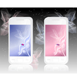 Two white mobile phones with ladybird on abstract vector image vector image