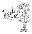 drawing girl with flower says thank you vector image