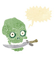 cartoon pirate skull with knife in teeth with vector image