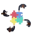 Business People team with jigsaw puzzle pieces vector image