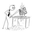 angry businessman destroying smashing computer vector image