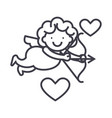cupid angel line icon sign vector image
