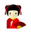 cute red kimono girl character graphic vector image
