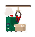 flat christmas presents conveyor machine vector image