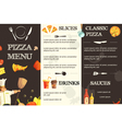Pizza Menu Flat Template For Restaurant vector image