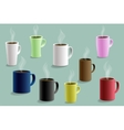 Set of colorful cups for hot drinks vector image