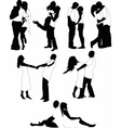 young lovers silhouette vector image