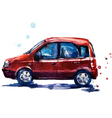 watercolor red car vector image vector image