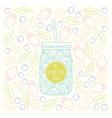 Mason jar with smoothie bar logotype on fruits and vector image