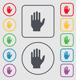 Hand print sign icon Stop symbol Symbols on the vector image