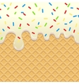 Flowing Ice Cream on waffle vector image